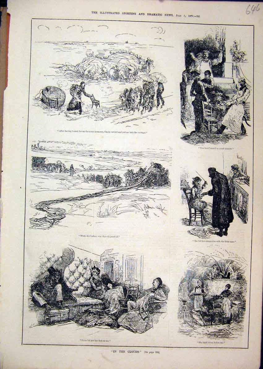 Print 1879 Scenes Family Clouds Chair Eating Room 46Mar1 Old Original