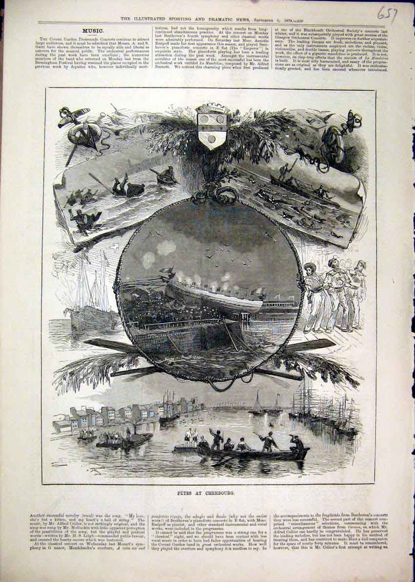 Print 1879 Fetes Cherbourg Boats Ship Men Water 57Mar1 Old Original