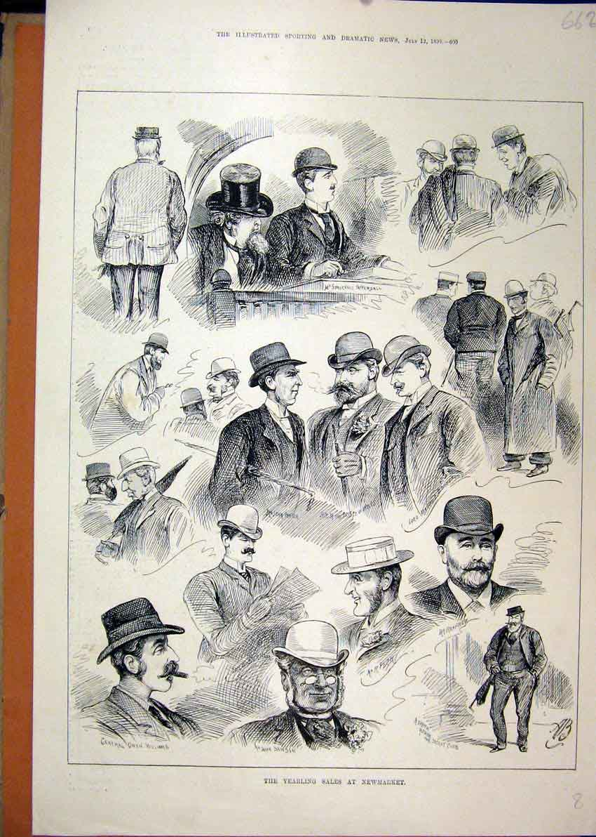 Print 1890 Yearling Sale Newmarket Men Top Hat 62Mar1 Old Original