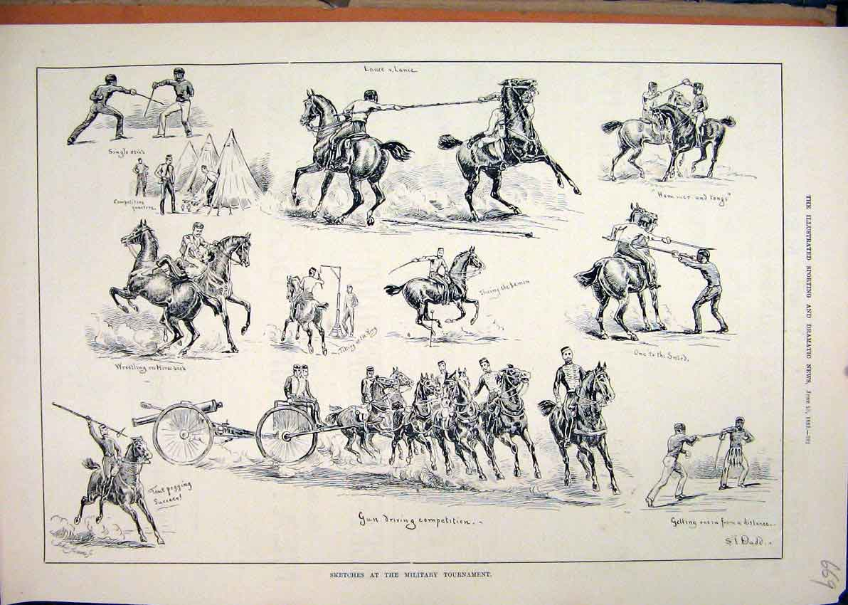 Print Sketches Military Tournament 1883 Horse Wrestling 69Mar1 Old Original