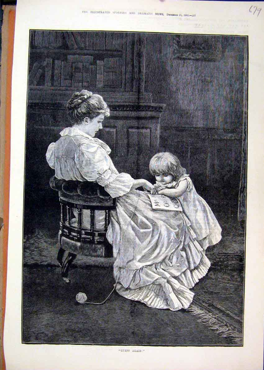 Print 1883 Woman Siiting Chair Little Girl Book Art 79Mar1 Old Original