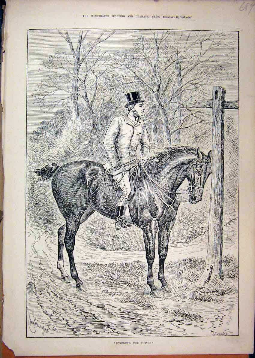 Print 1887 Horse Rider Signpost Man Country Lane 89Mar1 Old Original
