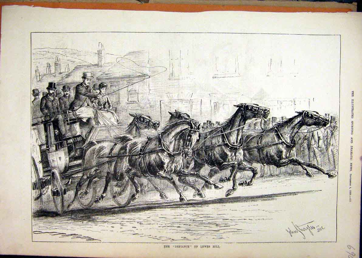 Print 1880 Lewes Hill Defiance Horses Running Coach 90Mar1 Old Original