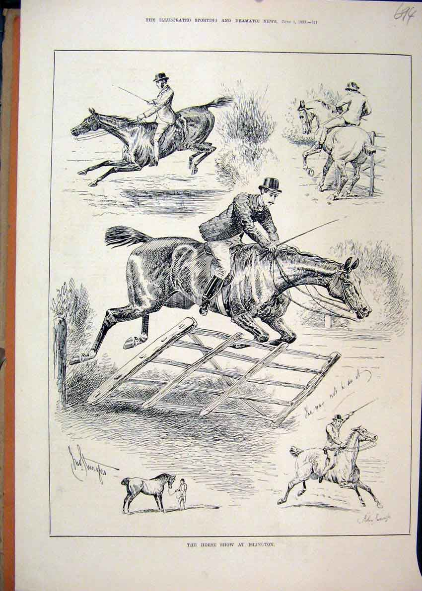 Print 1883 Horse Show Islington Jumping Fence 94Mar1 Old Original