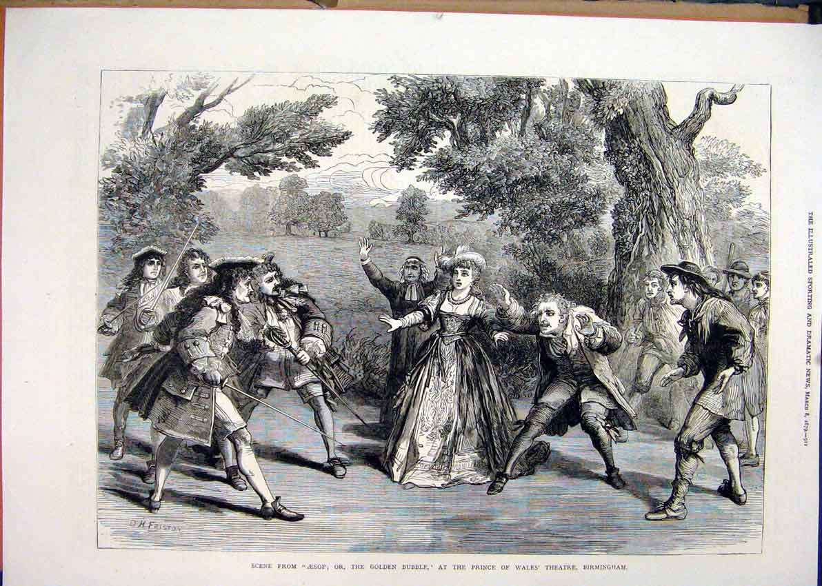 Print 1879 Scene Aesop Golden Bubble Theatre Birmingham Wales 00Mar1 Old Original