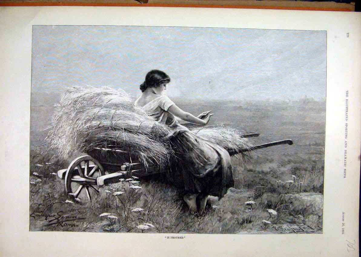 Print Woman Sitting Hay Cart 1893 Country Field 03Mar1 Old Original