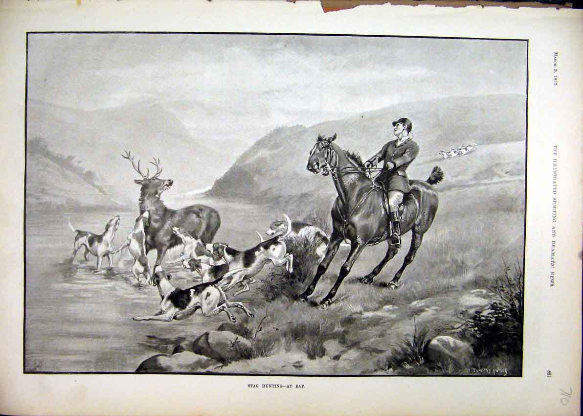 Print Stag Hunting River 1892 Dog Horse Man Mountain Scene 10Mar1 Old Original