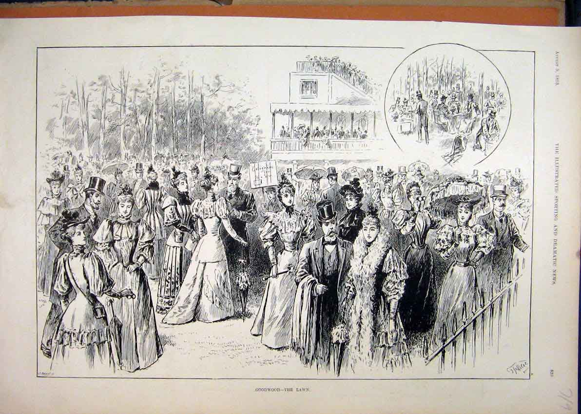 Print 1893 Horse Racing Goodwood Lawn People Grand Stand 19Mar1 Old Original