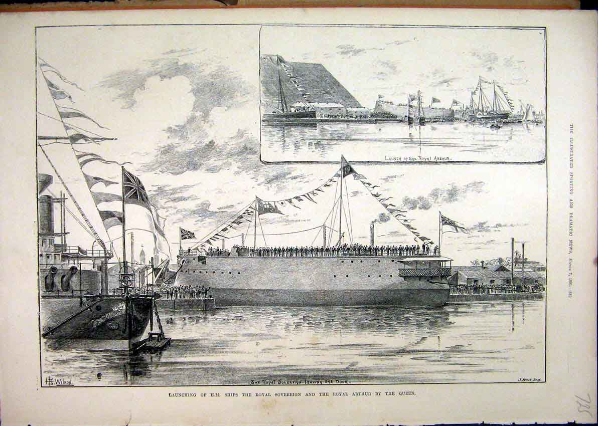 Print 1891 Launching Ships Royal Sovereign Arthur Queen Dock 25Mar1 Old Original