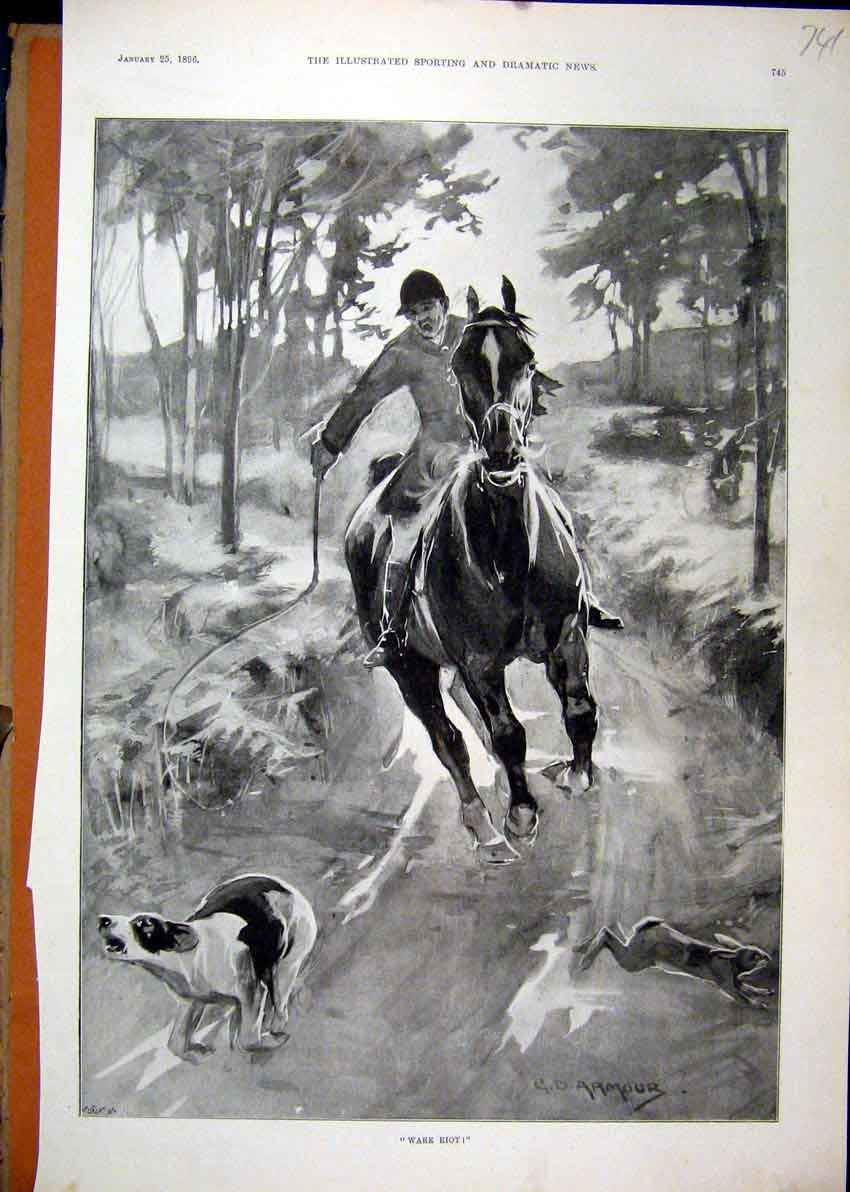Print 1896 Hare Coursing Man Horse Dog Country Lane Fine Art 41Mar1 Old Original