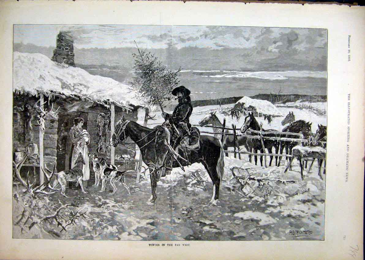 Print 1892 Horses Man Woman Bay House Snow Dogs 44Mar1 Old Original
