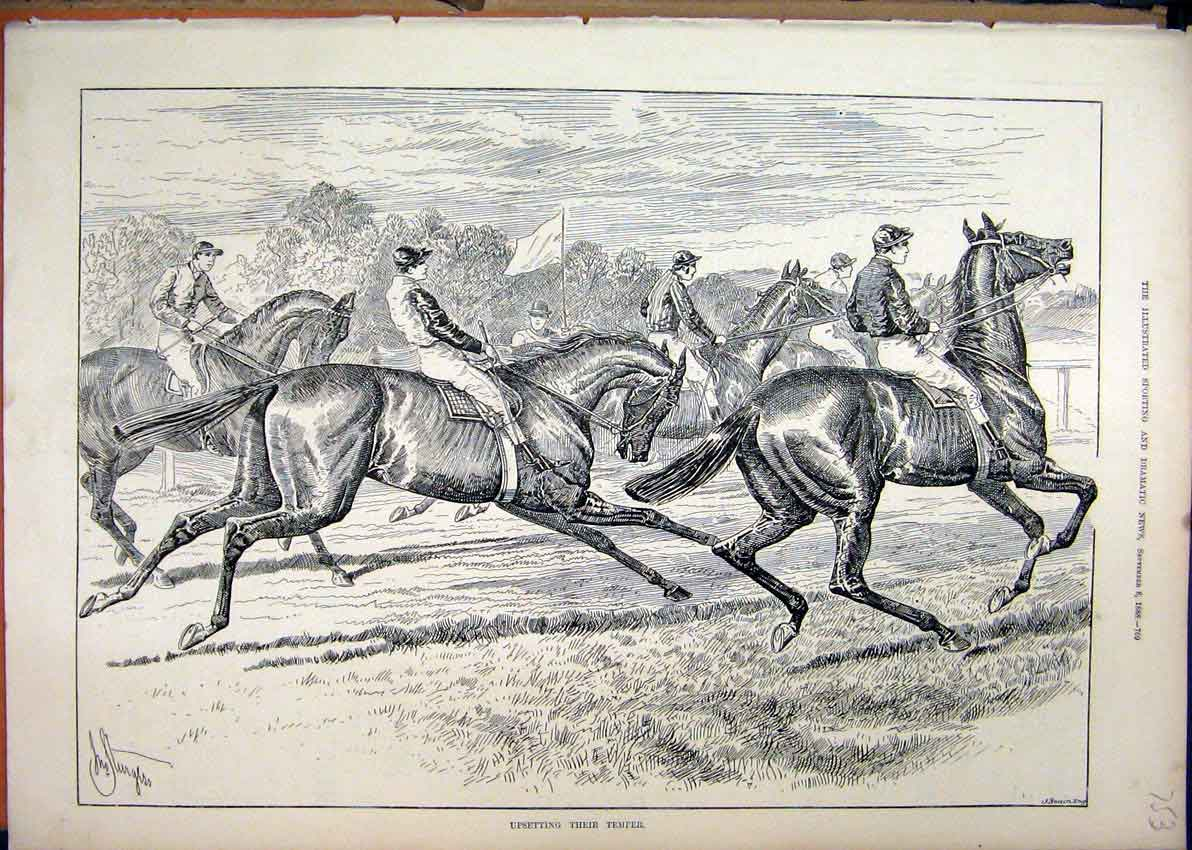 Print Horse Racing 1888 Jockey Course Sport 53Mar1 Old Original