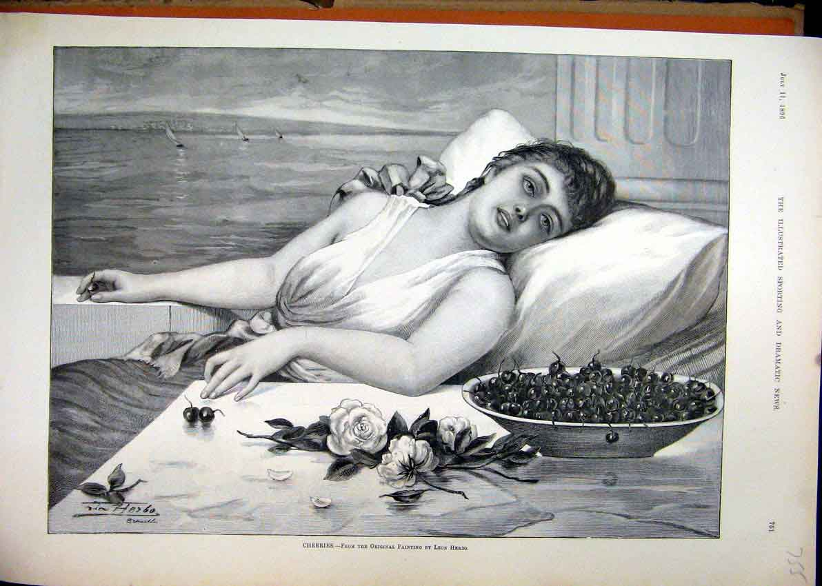 Print 1896 Beautiful Woman Bowl Cherries Flowers Painting 55Mar1 Old Original