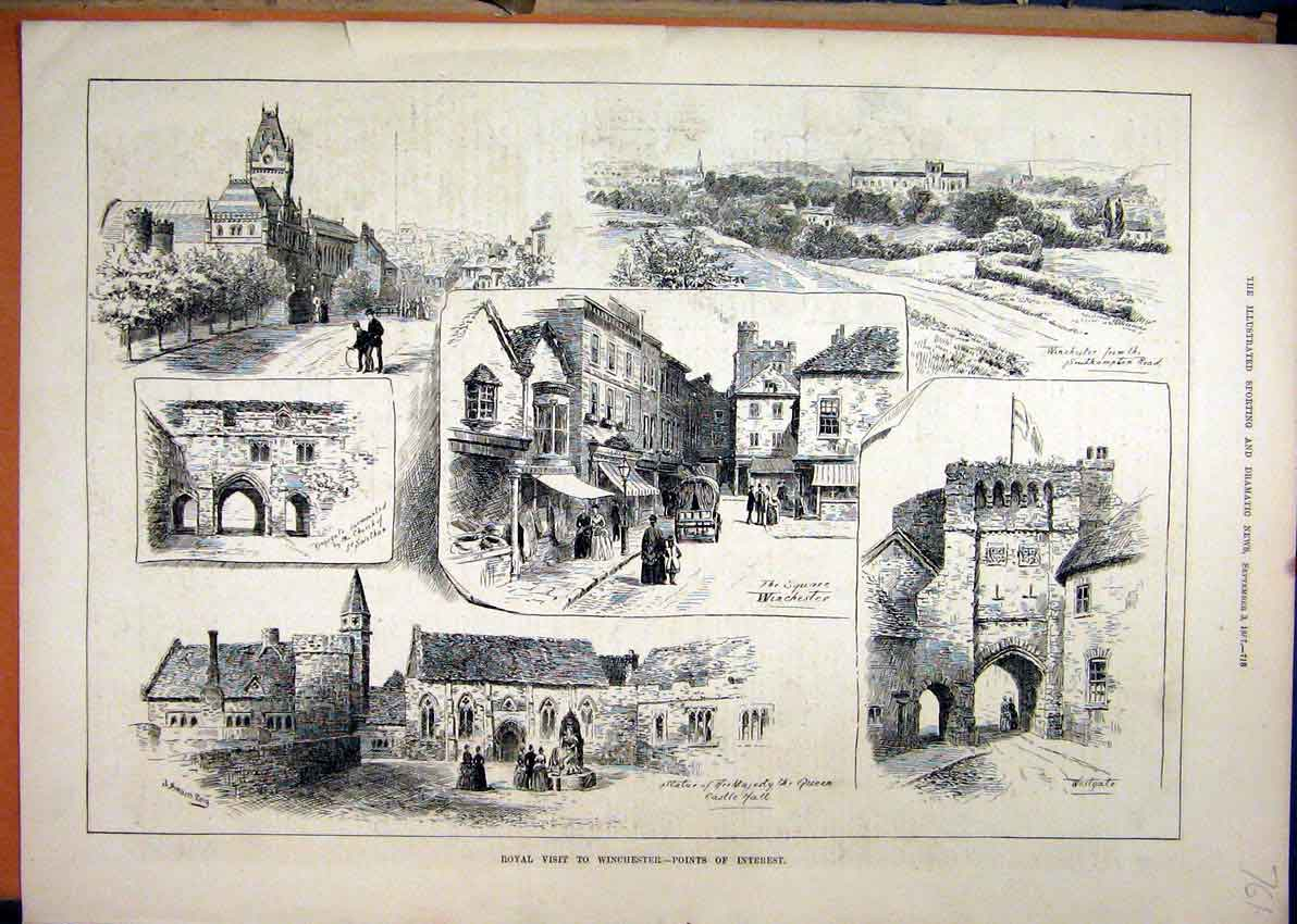 Print 1887 Royal Winchester Westgate Kinsgate Church Statue 61Mar1 Old Original
