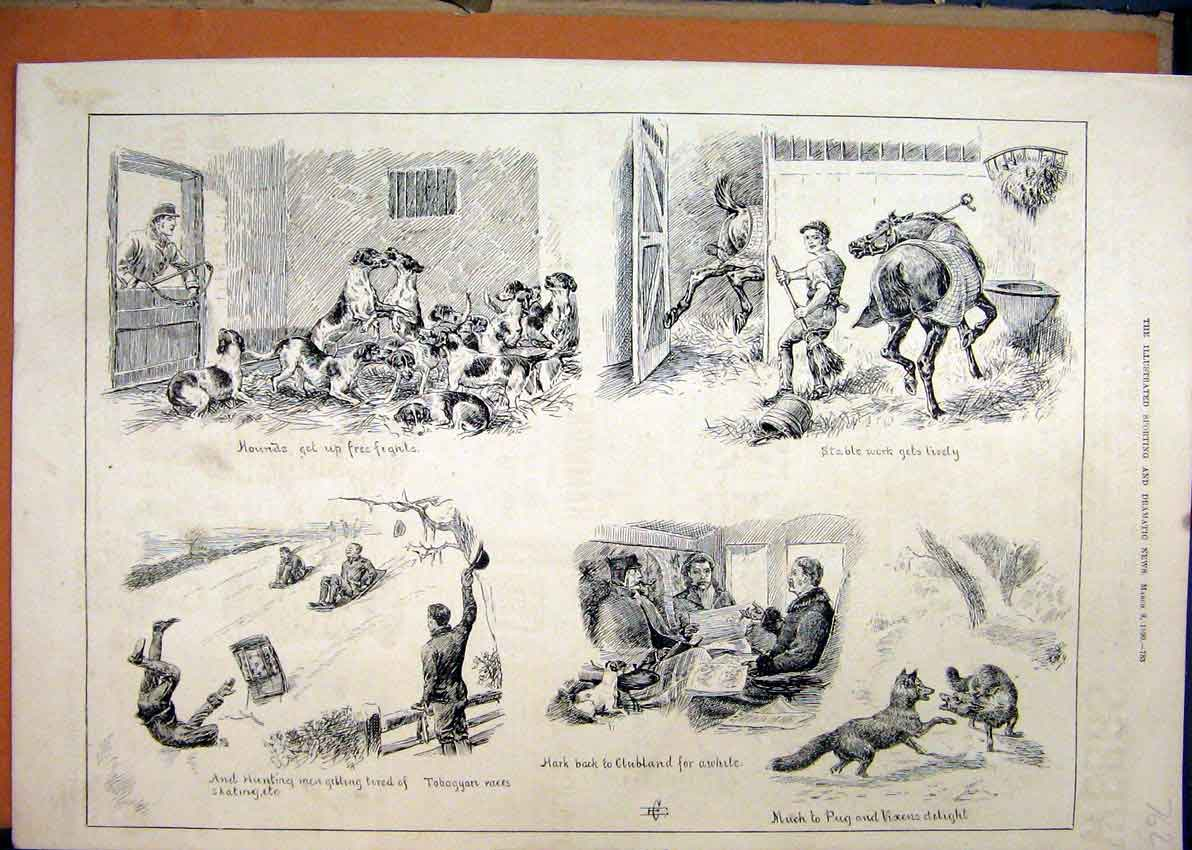Print 1890 Fox Hunting Dogs Stable Horse Toboggan Snow Vixen 62Mar1 Old Original