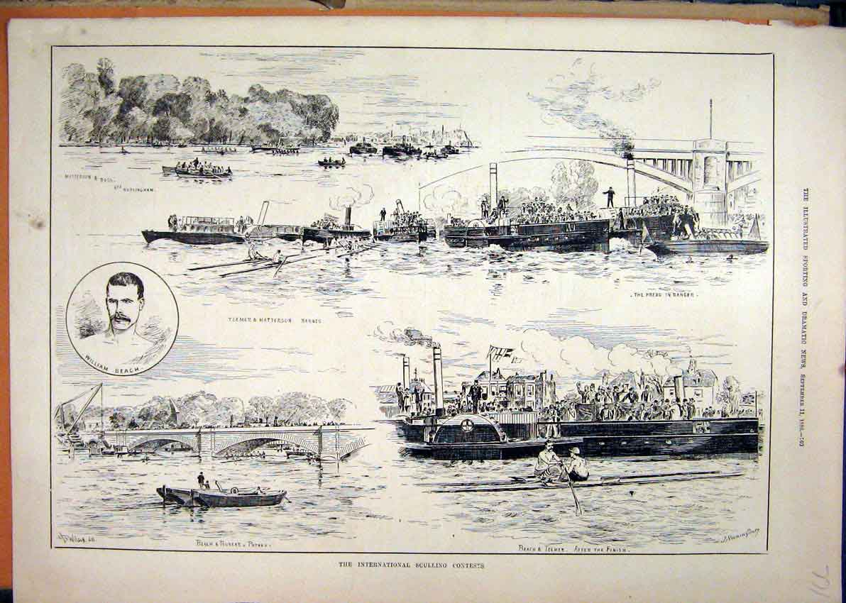 Print International Sculling 1886 William Beach Teemer Boat 71Mar1 Old Original