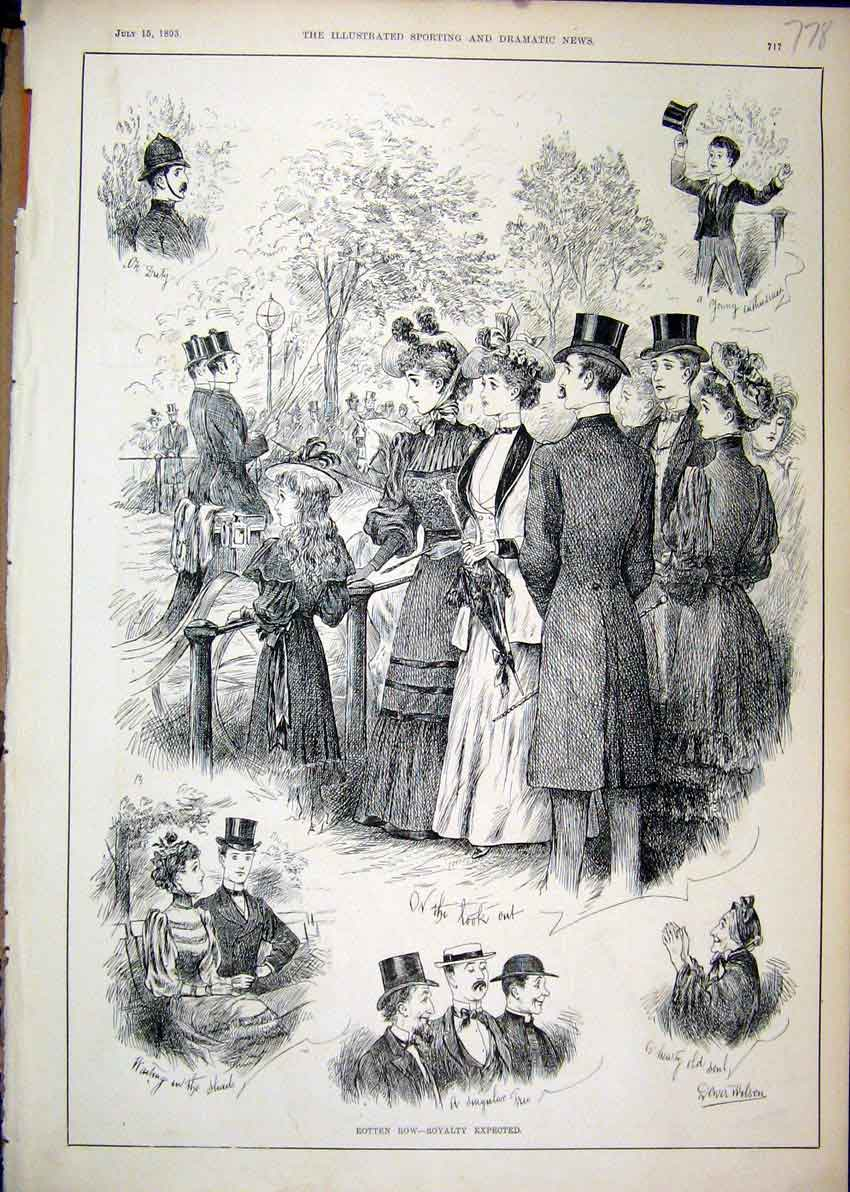 Print Rotten Row Waiting Queen 1893 Policeman Family 78Mar1 Old Original