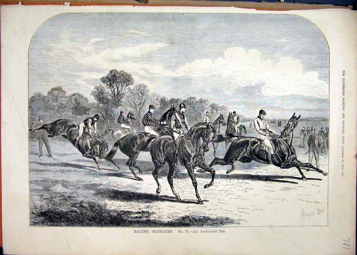 Print 1874 Racing Sketches Horses Jockey Jumping 81Mar1 Old Original