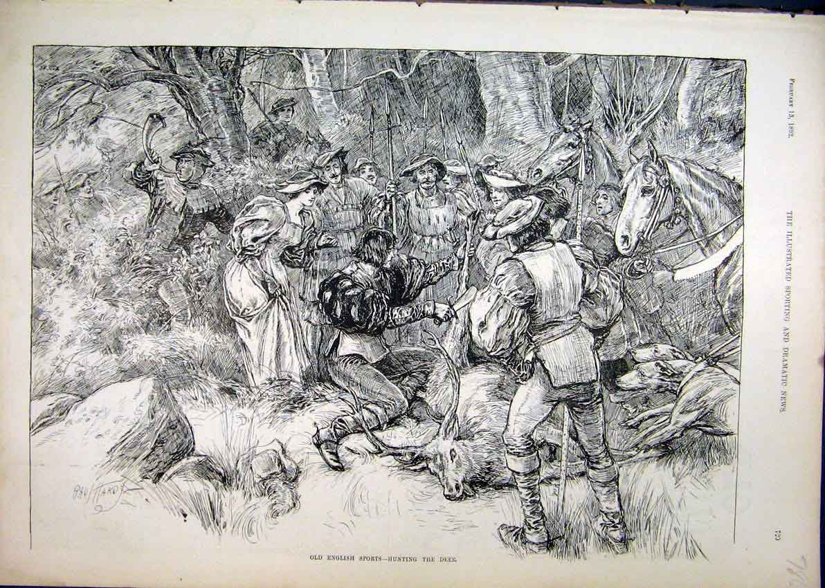 Print 1892 English Sport Deer Hunting Horse Dog Country Scene 86Mar1 Old Original