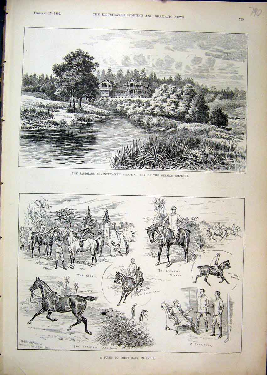 Print 1892 Horse Point Race India Jagdhaus Rominten German 90Mar1 Old Original