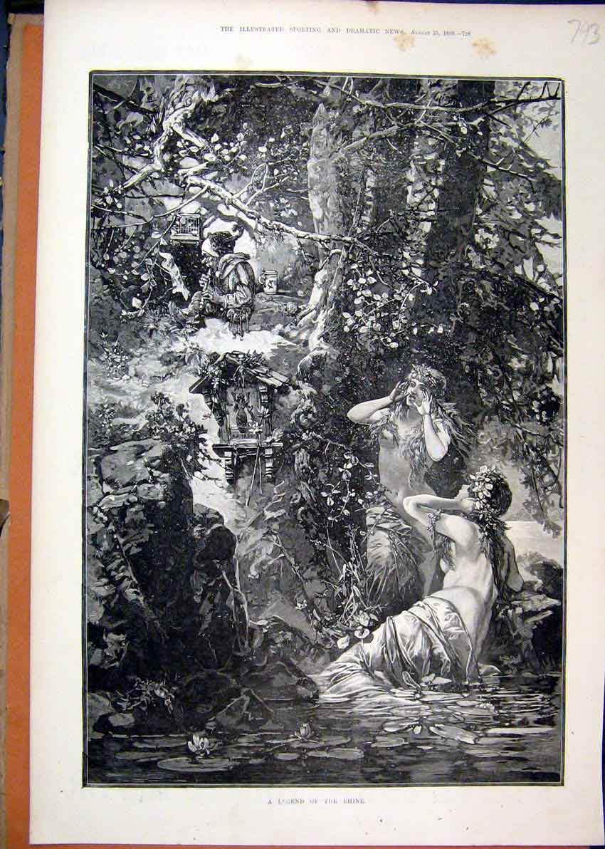 Print Legend Rhine 1888 Fantasy Scene River Trees Angels 93Mar1 Old Original