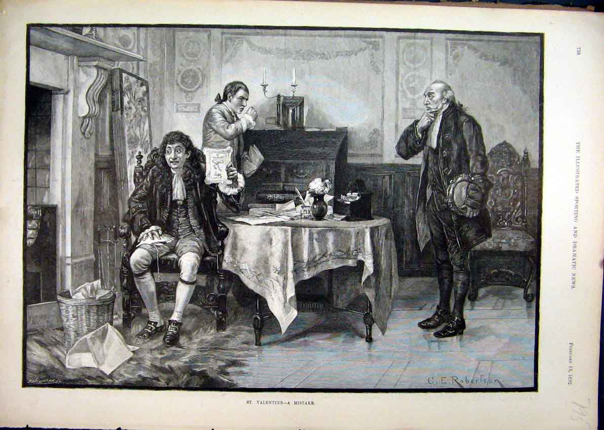 Print 1892 Men Sitting Table Valentine Basket Room Fine Art 95Mar1 Old Original