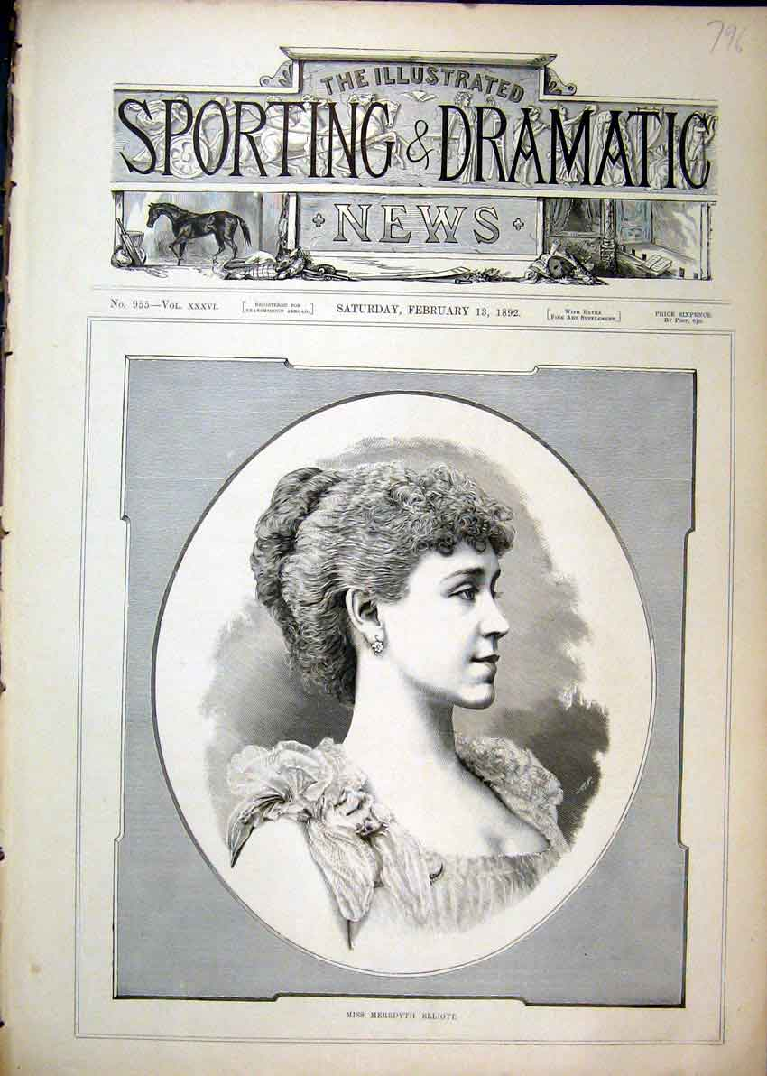 Print 1892 Portrait Miss Meredyth Elliott 96Mar1 Old Original