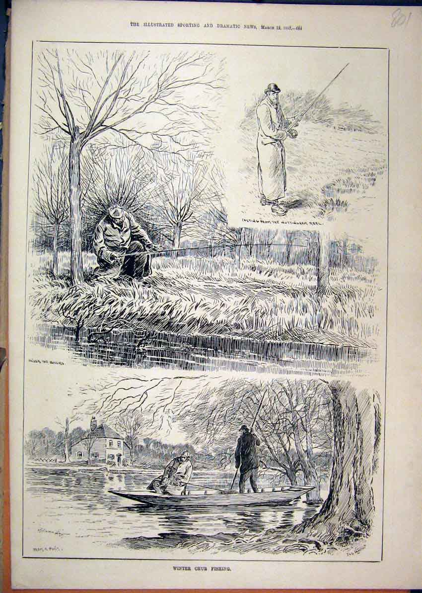 Print 1887 Winter Chub Fishing River Boat Rod Casting 01Mar1 Old Original