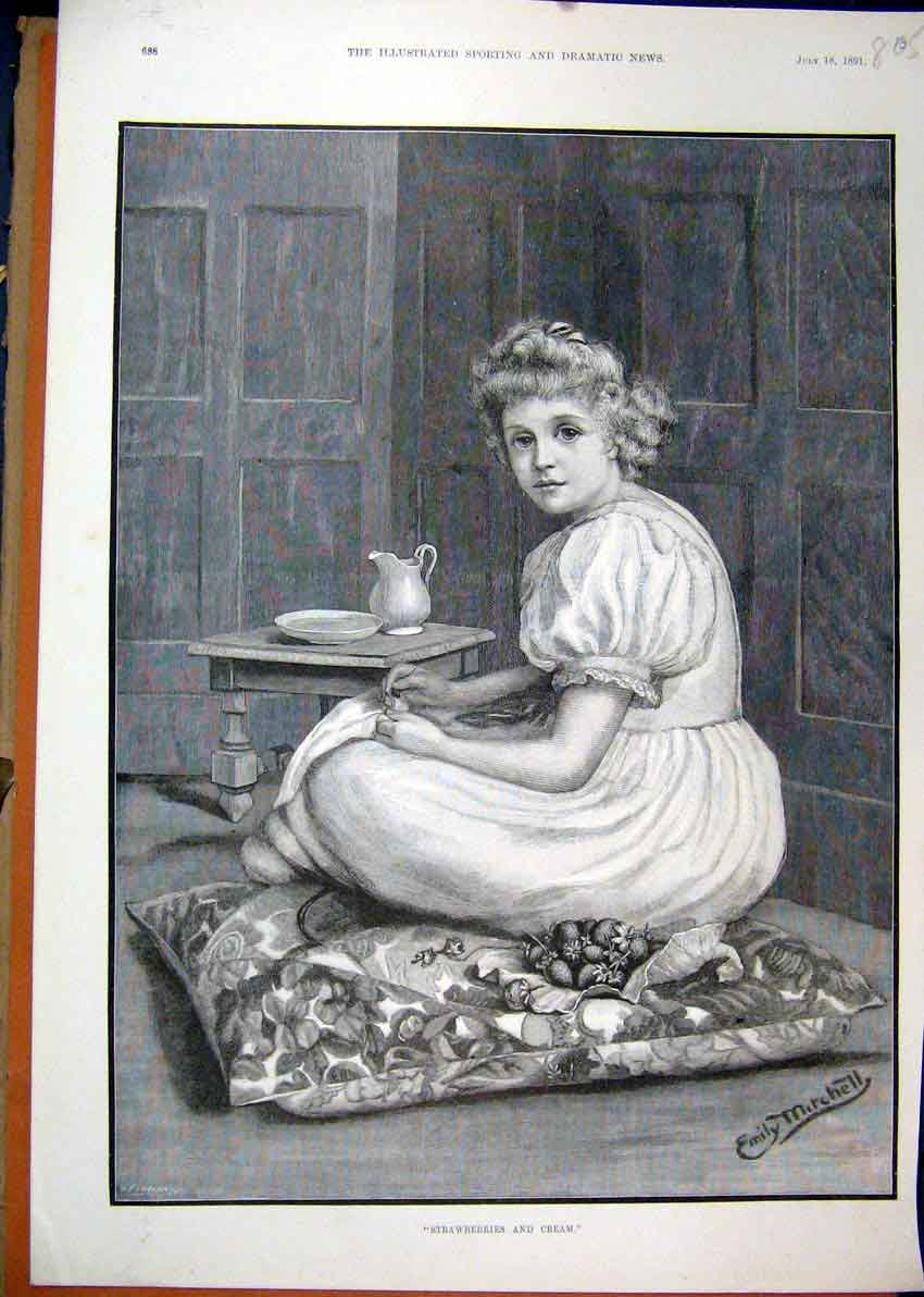 Print 1891 Portrait Beautiful Girl Strawberries Cream Cushion 05Mar1 Old Original