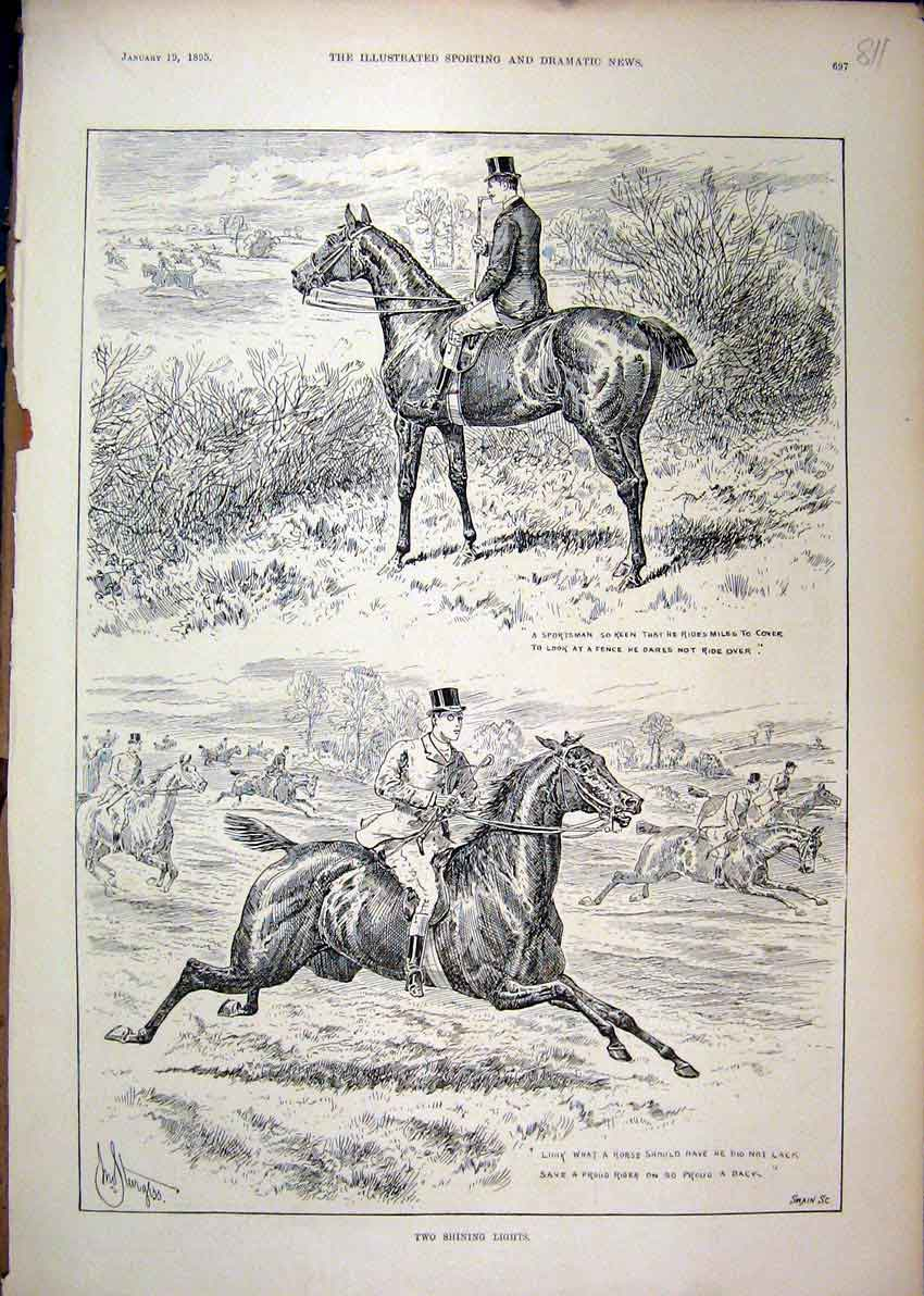 Print 1895 Hunting Man Horses Gallop Hedge Country Scene 11Mar1 Old Original