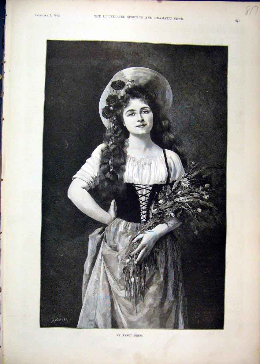 Print 1892 Portrait Woman Bunch Flowers Fancy Dress 17Mar1 Old Original