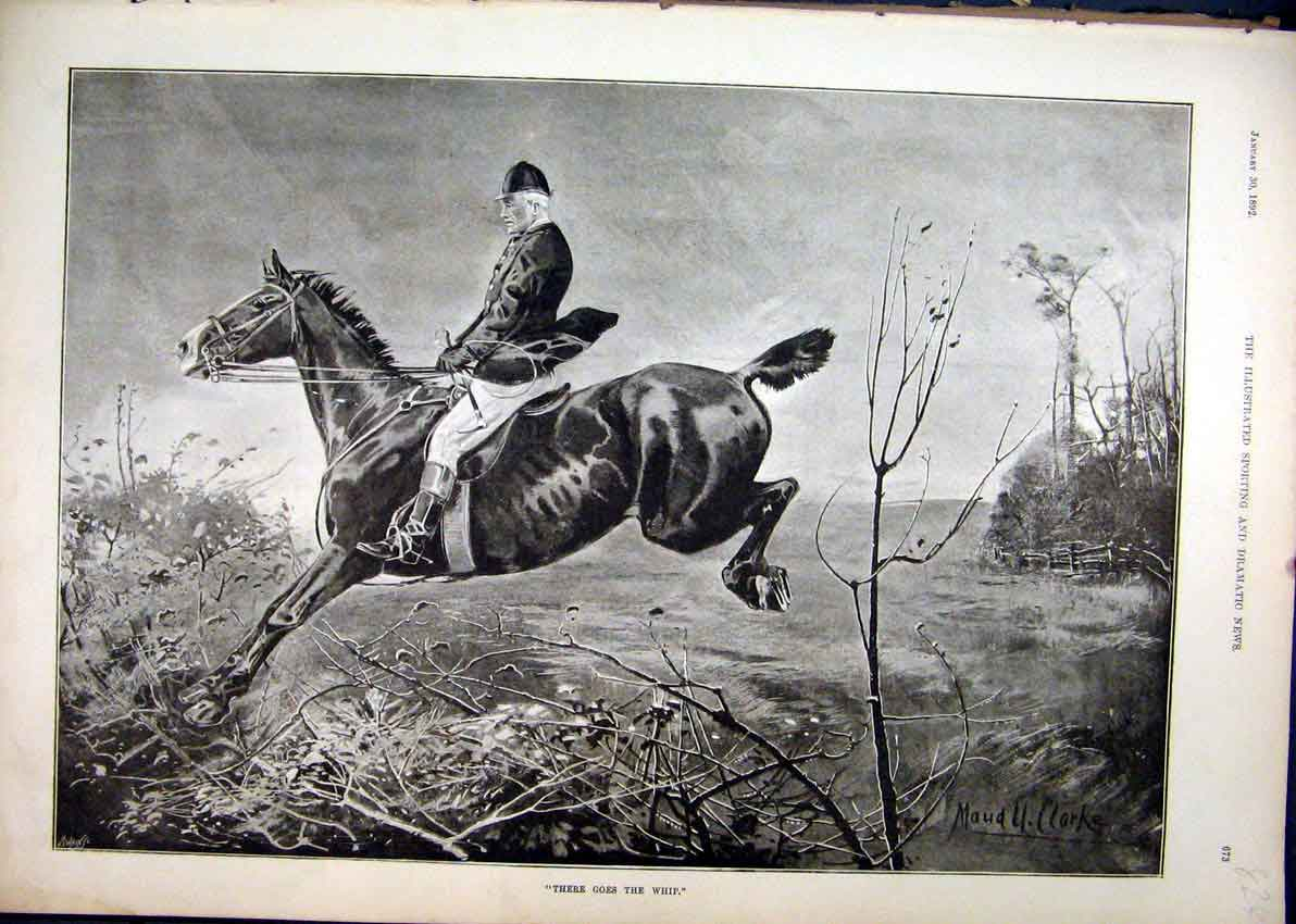Print 1892 Horse Man Rider Jump Hedge Country Scene 24Mar1 Old Original