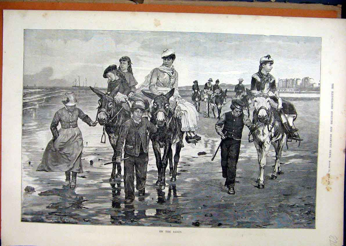 Print 1888 Donkey Rides Beach Young Children Sea Scene 26Mar1 Old Original