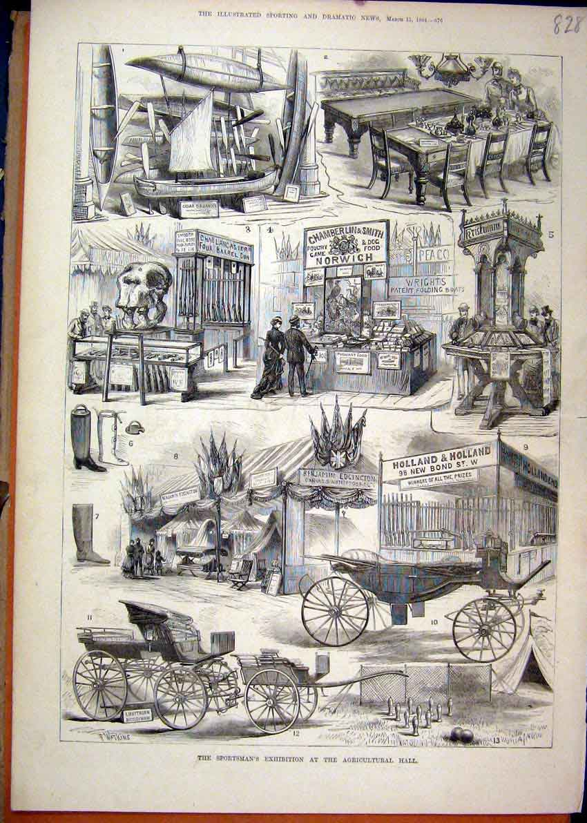 Print 1884 Sportsman Exhibition Agricultural Hall Carriage 28Mar1 Old Original