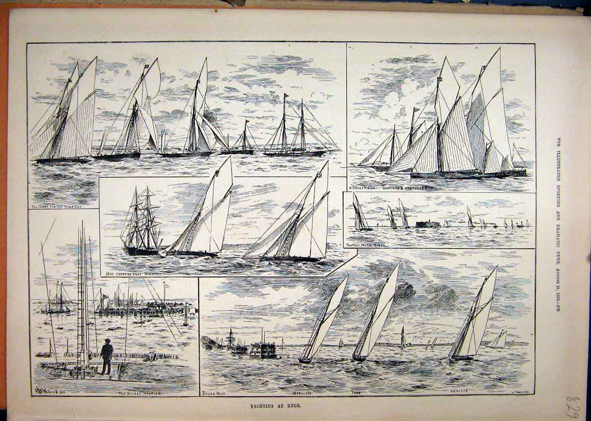 Print 1886 Yachting Ryde Signal Station Town Cup Noman 29Mar1 Old Original