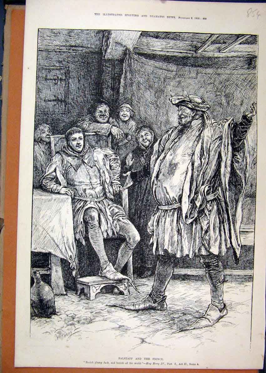 Print Scene Falstaff Prince 1890 King Henry Theatre 54Mar1 Old Original
