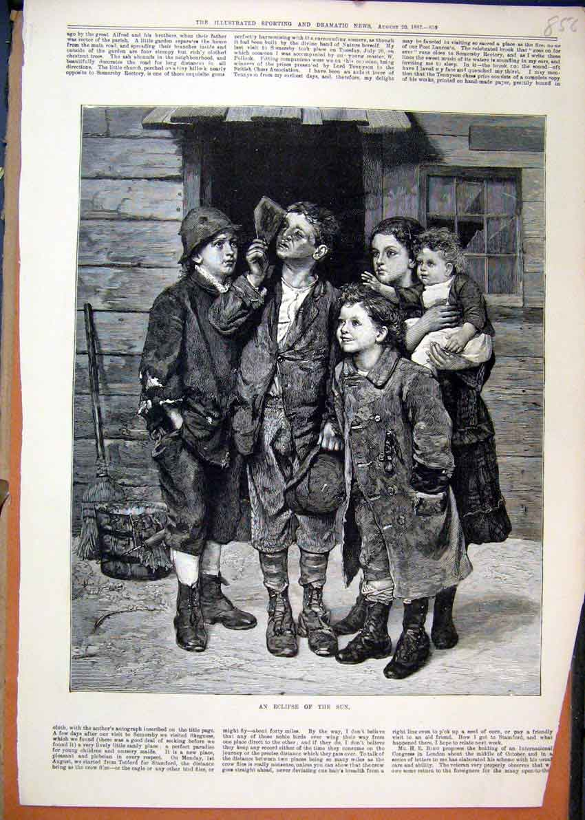 Print 1887 Children Watching Eclipse Sun Fine Art 56Mar1 Old Original