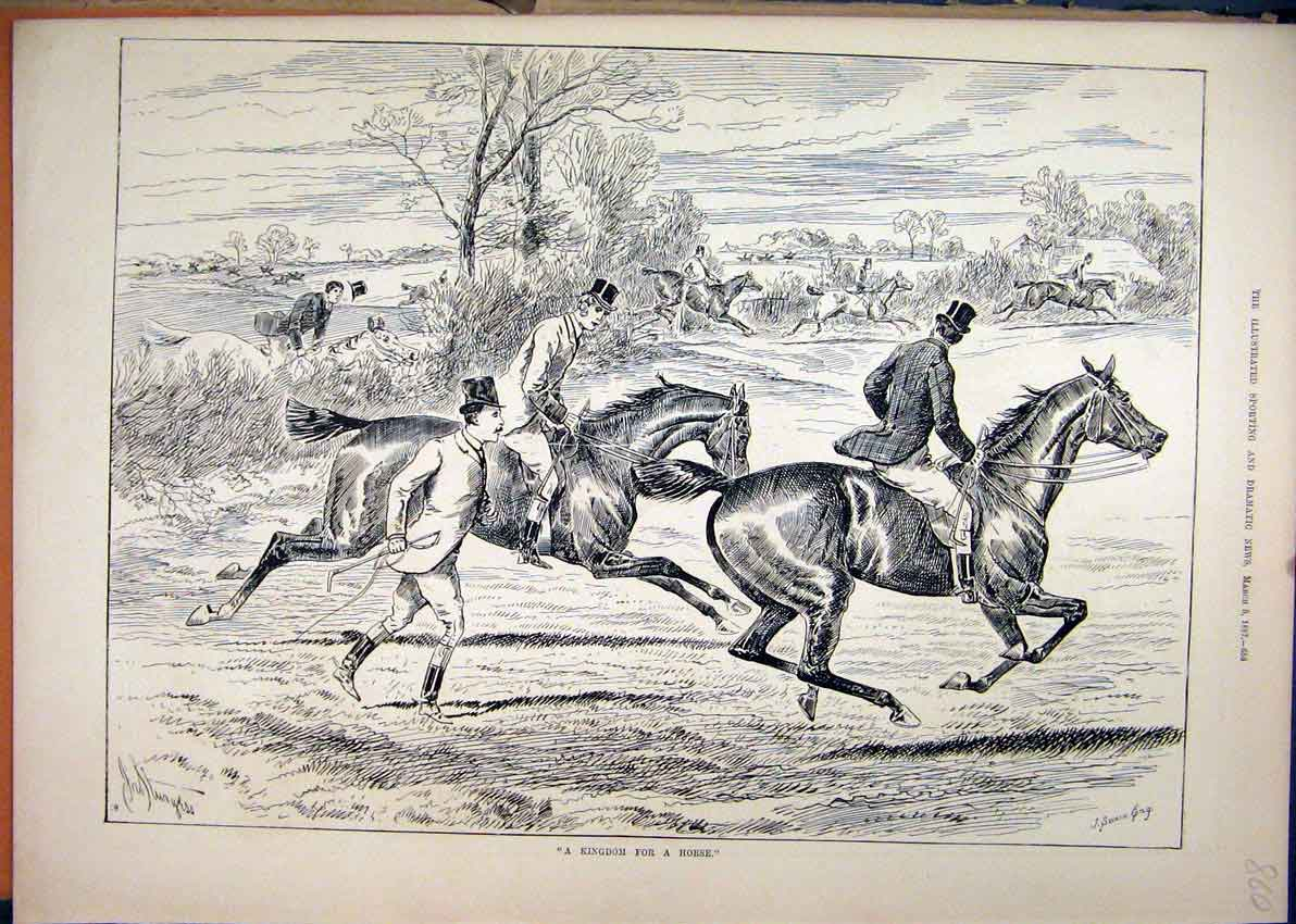 Print Horses Gallop Field 1887 Jumping Hedge Country Scene 60Mar1 Old Original