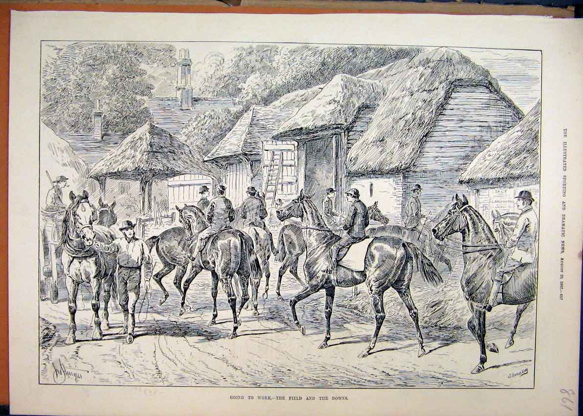 Print Horses 1887 Work Field Downs Cart Farmyard Barn 61Mar1 Old Original