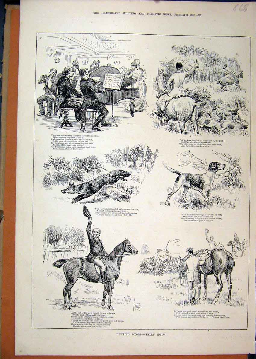 Print Fox Hunting 1890 Piano Music Hounds Horses 68Mar1 Old Original