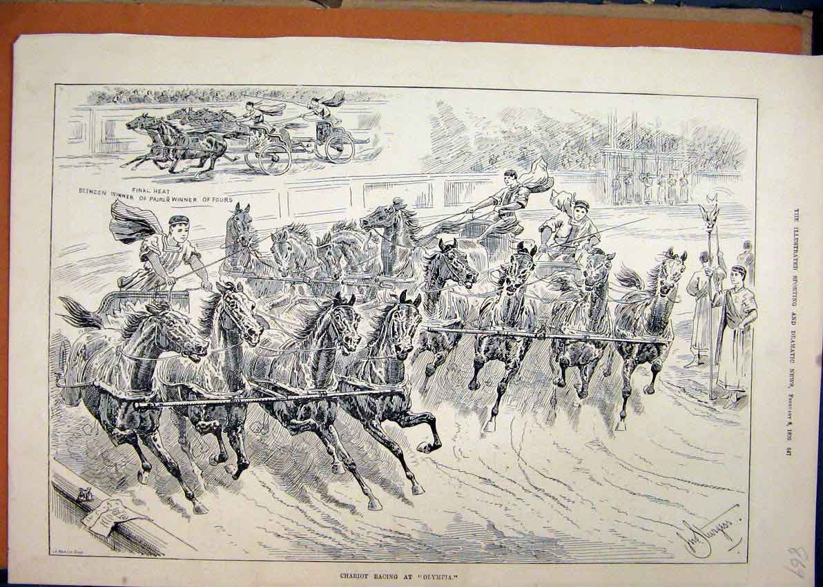 Print 1890 Horses Men Chariot Racing Olympia 69Mar1 Old Original