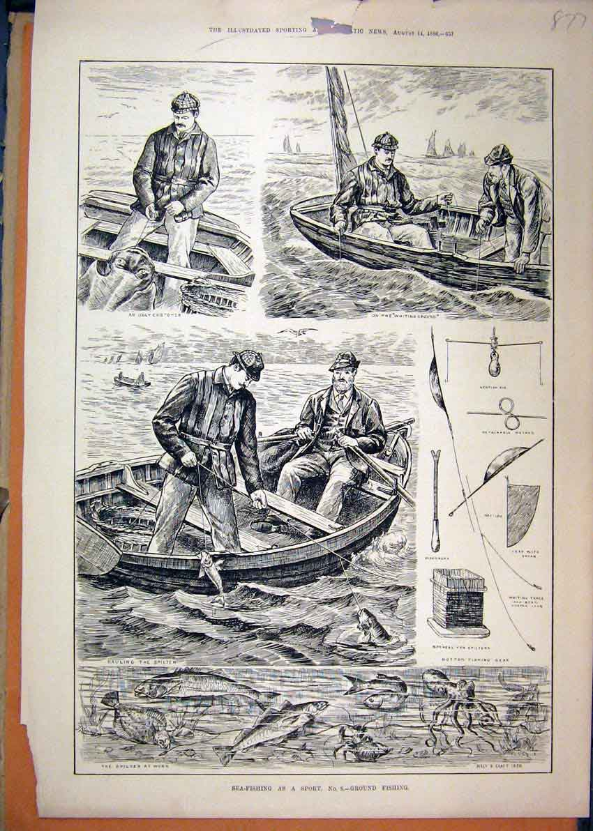 Print 1886 Sea-Fishing Sport Men Boat Spilter Octopus Lobster 77Mar1 Old Original