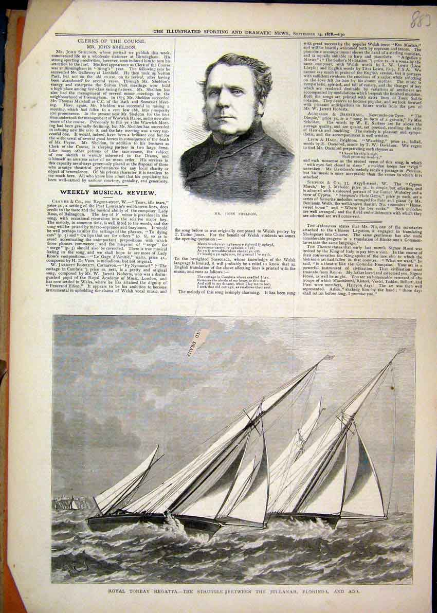 Print Portrait Sheldon 1878 Royal Torbay Regatta Jullanar 83Mar1 Old Original
