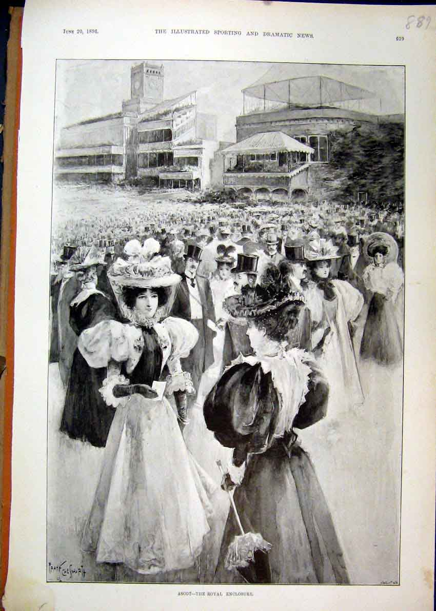 Print Ascot Race Course 1896 Royal Enclosure Ladies 89Mar1 Old Original