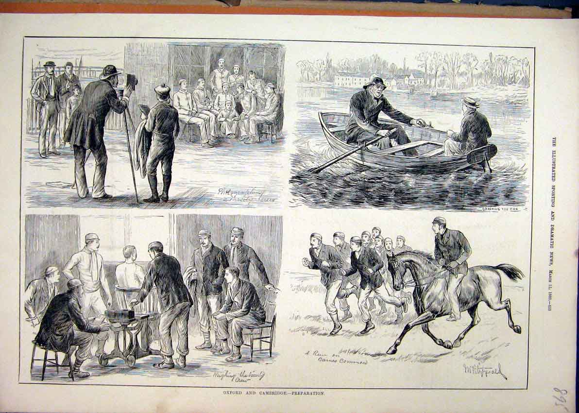 Print 1880 Oxford Cambridge Preparation Boat Horse Photo 95Mar1 Old Original