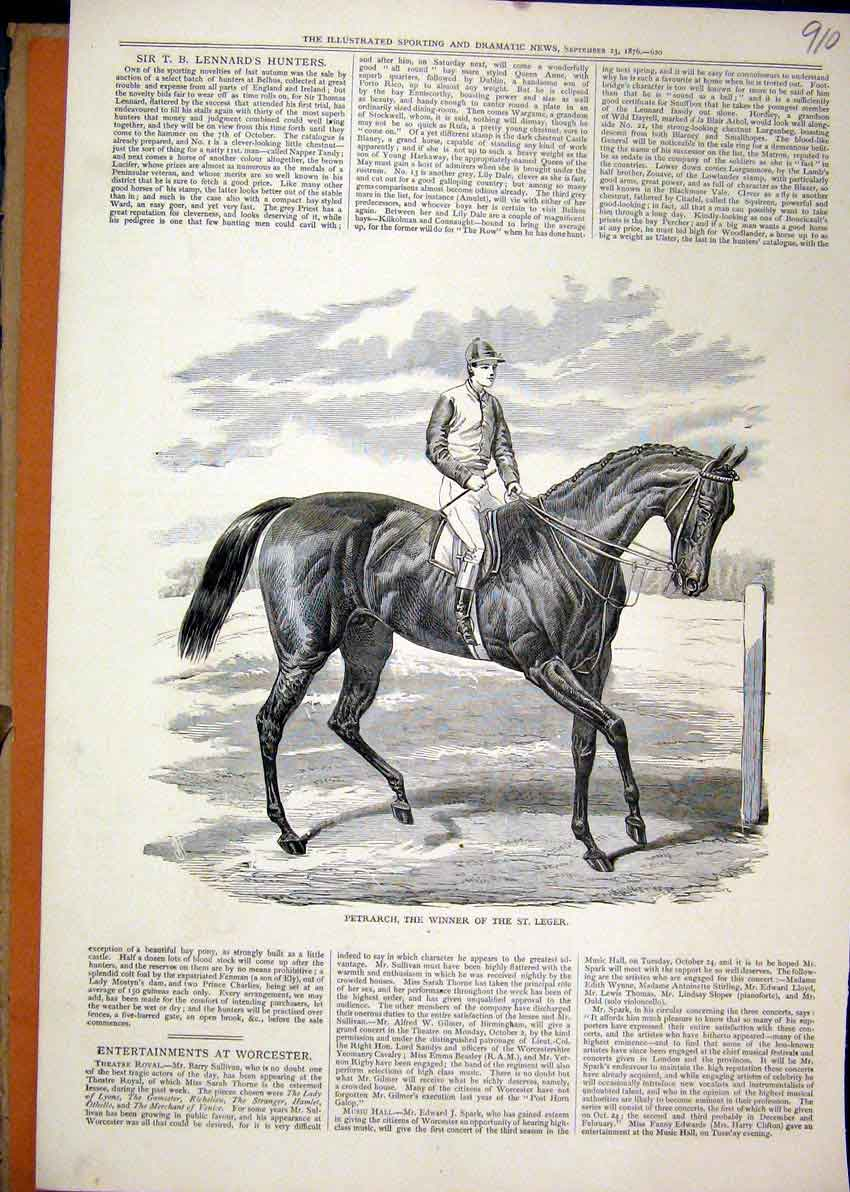 Print Horse Racing 1876 Petrarch Winner St Leger 10Mar1 Old Original