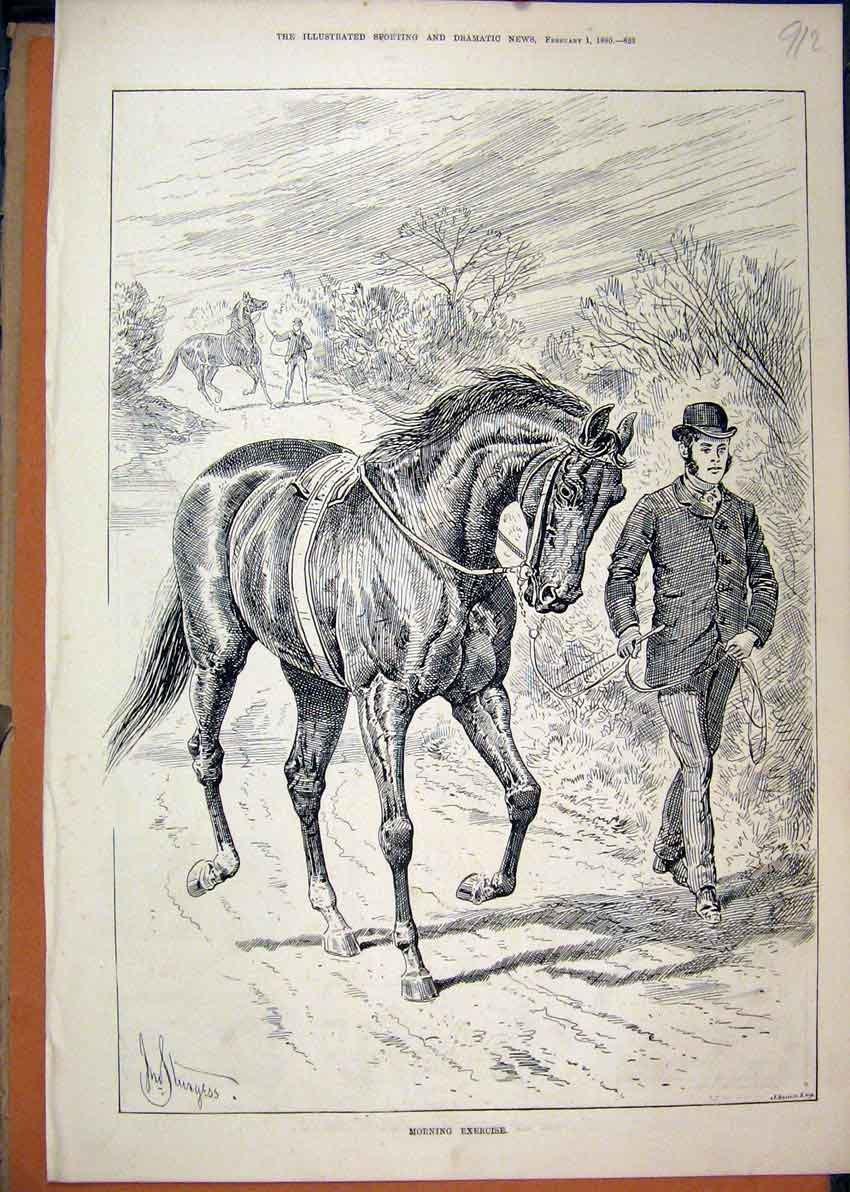 Print 1890 Man Leading Horse Exercising Country Lane 12Mar1 Old Original