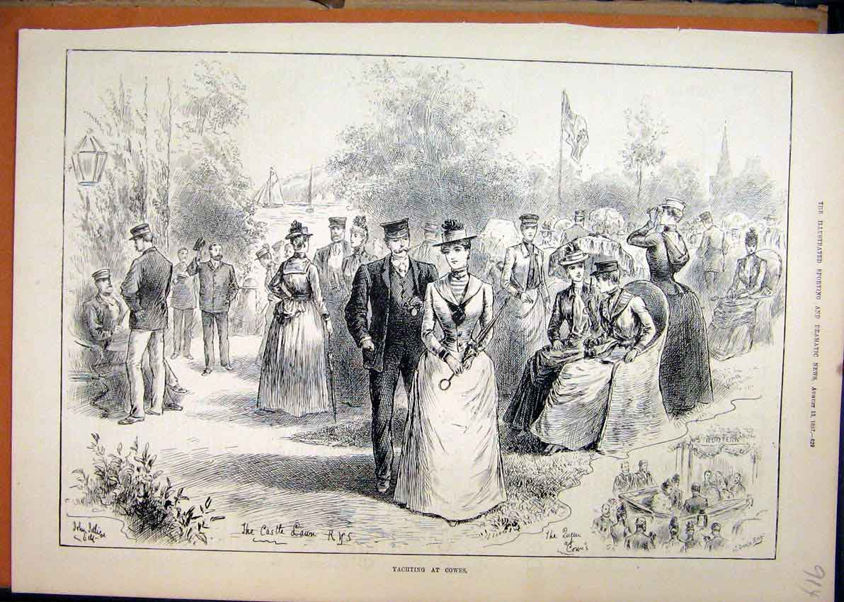 Print 1887 Yachting Cowes Castle Lawn Romance 14Mar1 Old Original