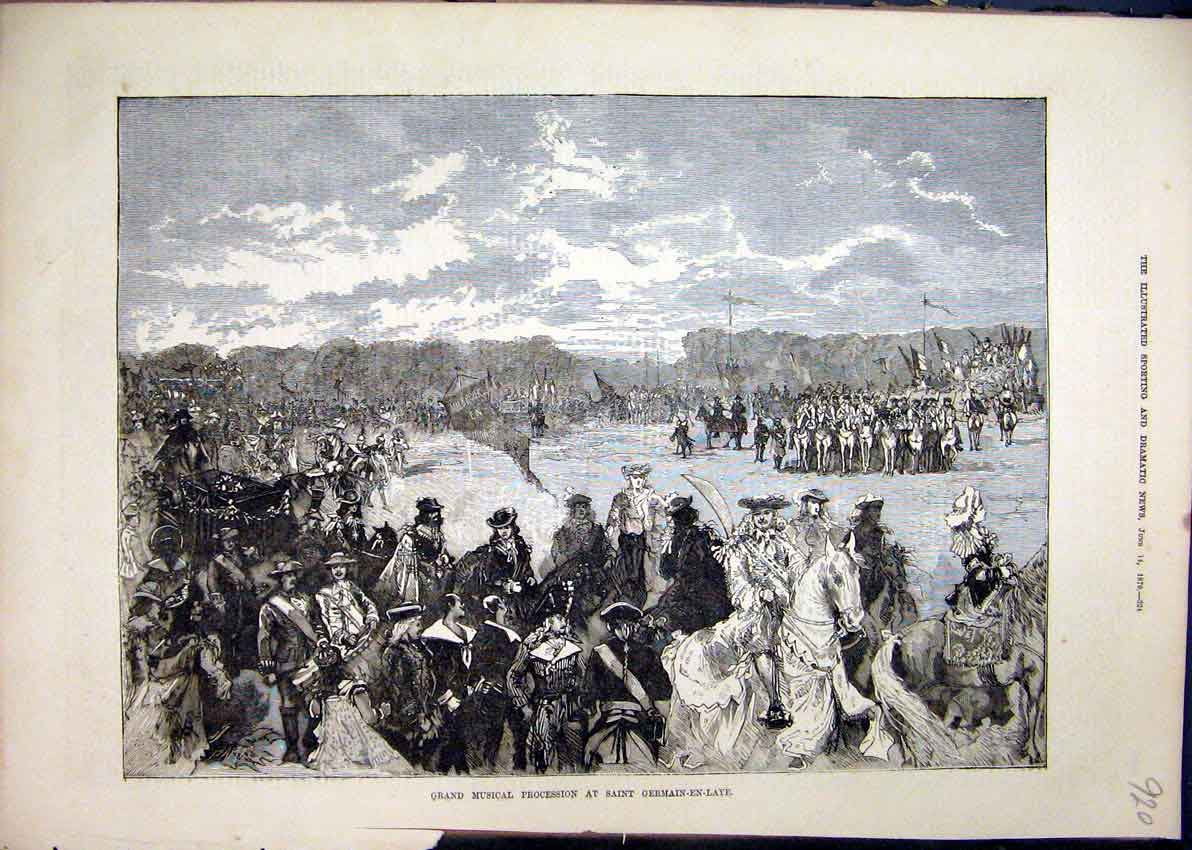 Print 1879 Grand Musical Procession Saint Germain-En-Laye 20Mar1 Old Original
