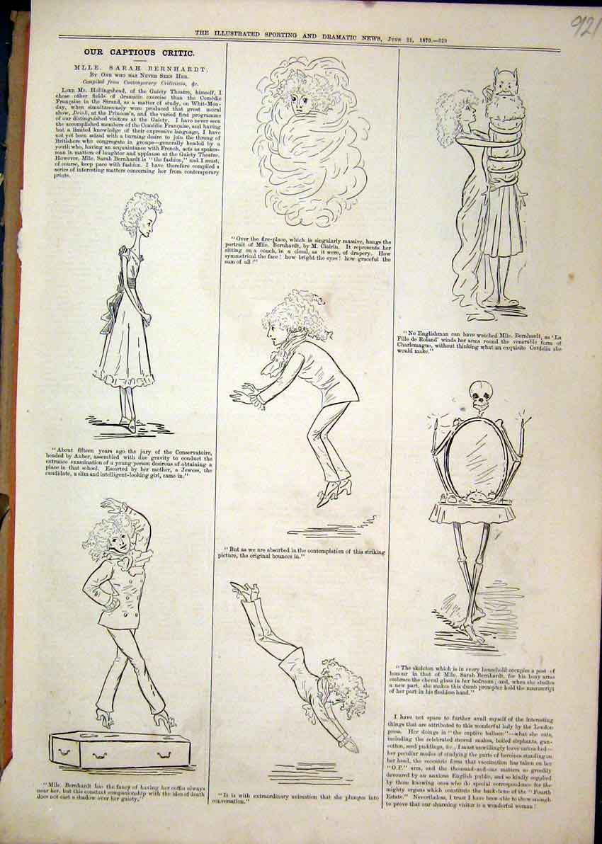 Print 1879 Caption Skeleton Mirror Diving Dancing 21Mar1 Old Original